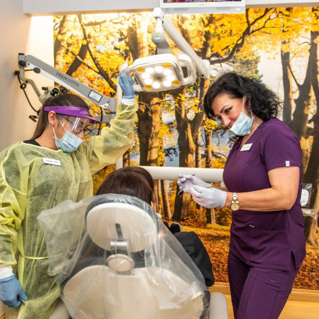 citrus heights dental patient with dental assistant and dental hygienist